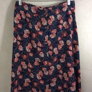 Nine Bird Navy Red Cotton Ball Tea Length Skirt L